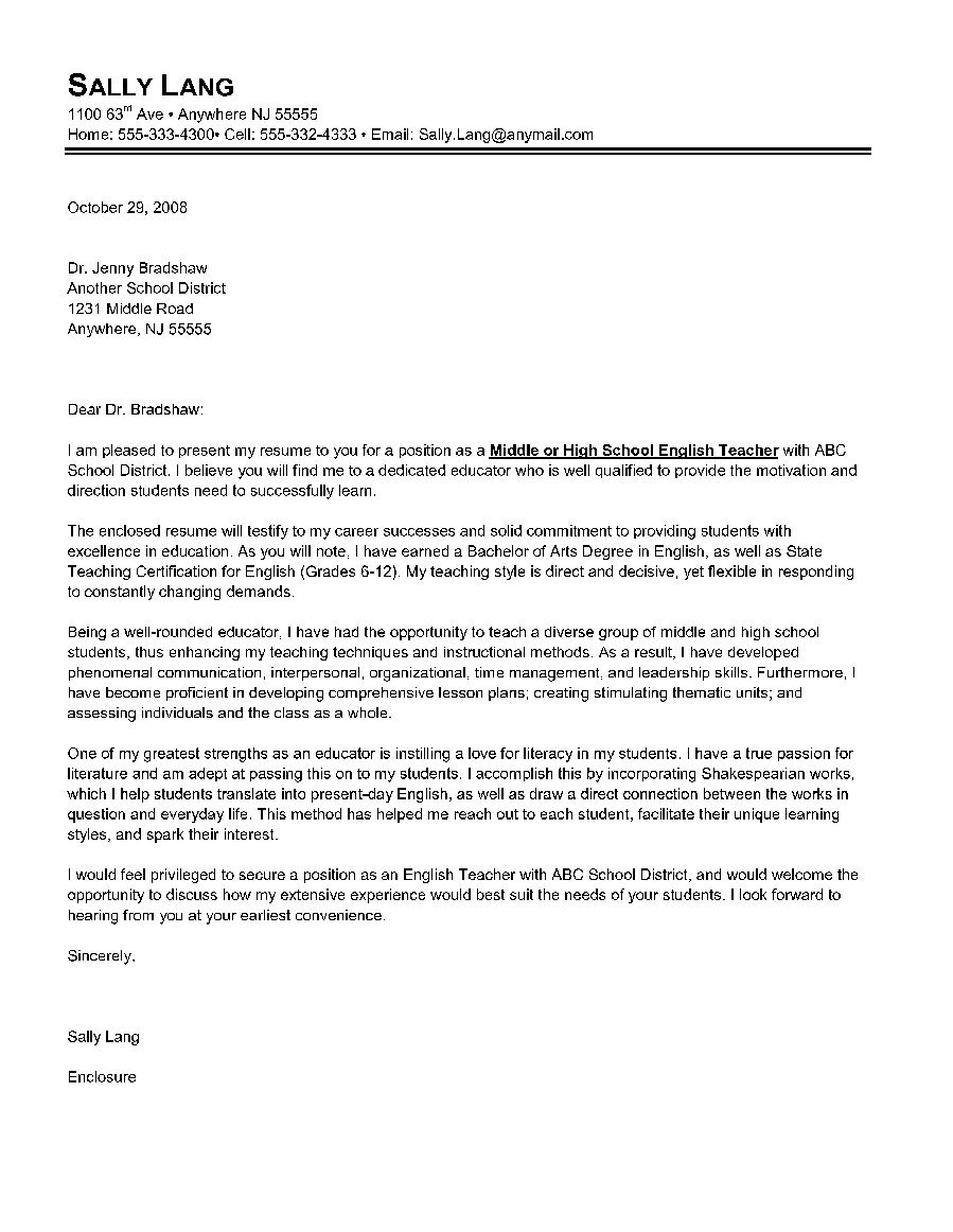 Letter of Introduction for a Teacher Canadian Resume Writing Service