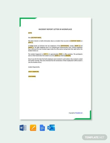 FREE Incident Report Letter Template in Workplace Word DOC Apple MAC Pages