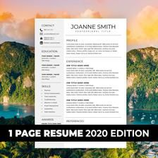 1 Page Resume Template e page resume pact resume Resume for Word Professional Resume Modern Resume Resume Word CV Template