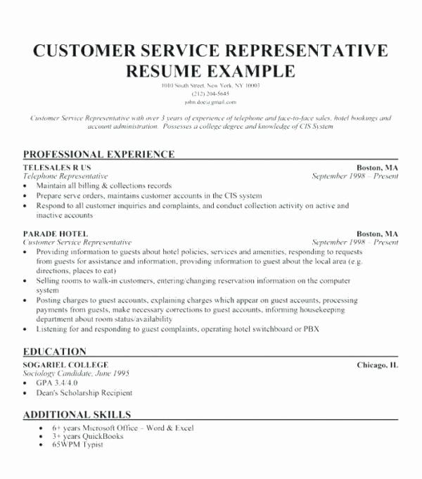 Resume Template Customer Service Awesome Customer Service Representative Resume with No Experience Free