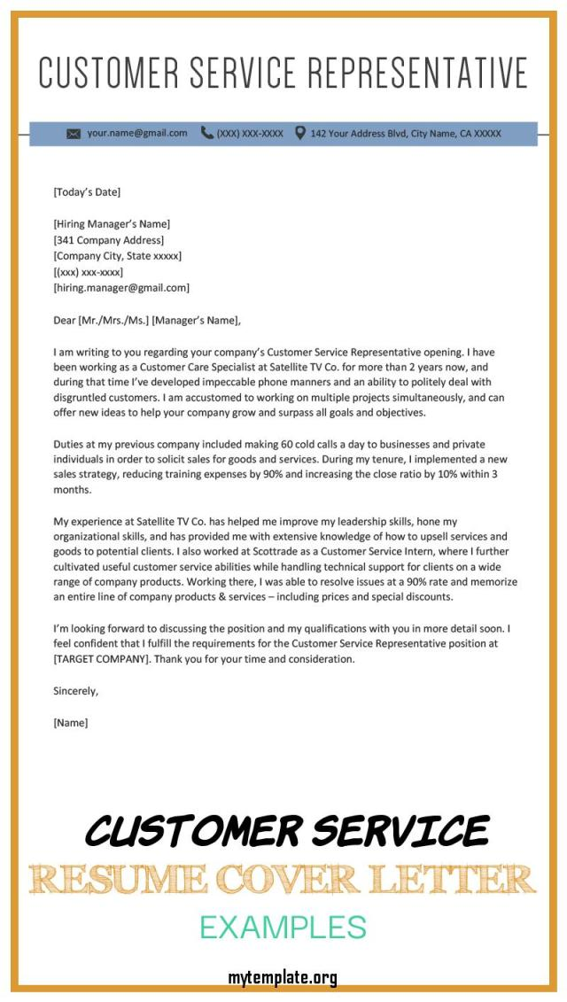 customer service resume cover letter examples of customer