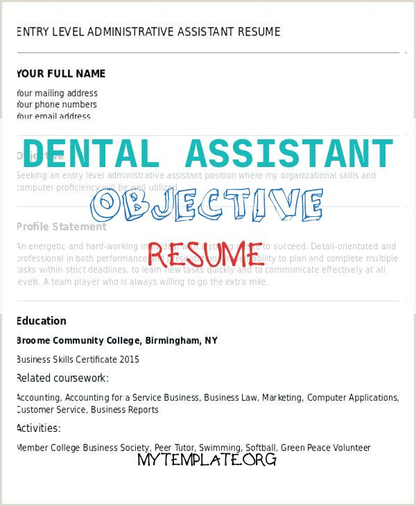 10 Dental Assistant Objective Resume Free Templates