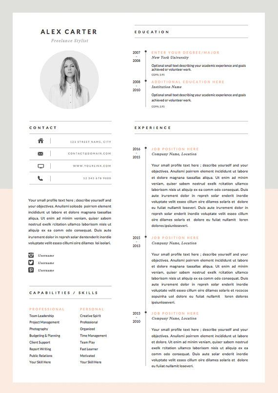 Modern Resume Template & Cover Letter Icon Set for Microsoft Word 4 Page Pack Professional CV Instant Download