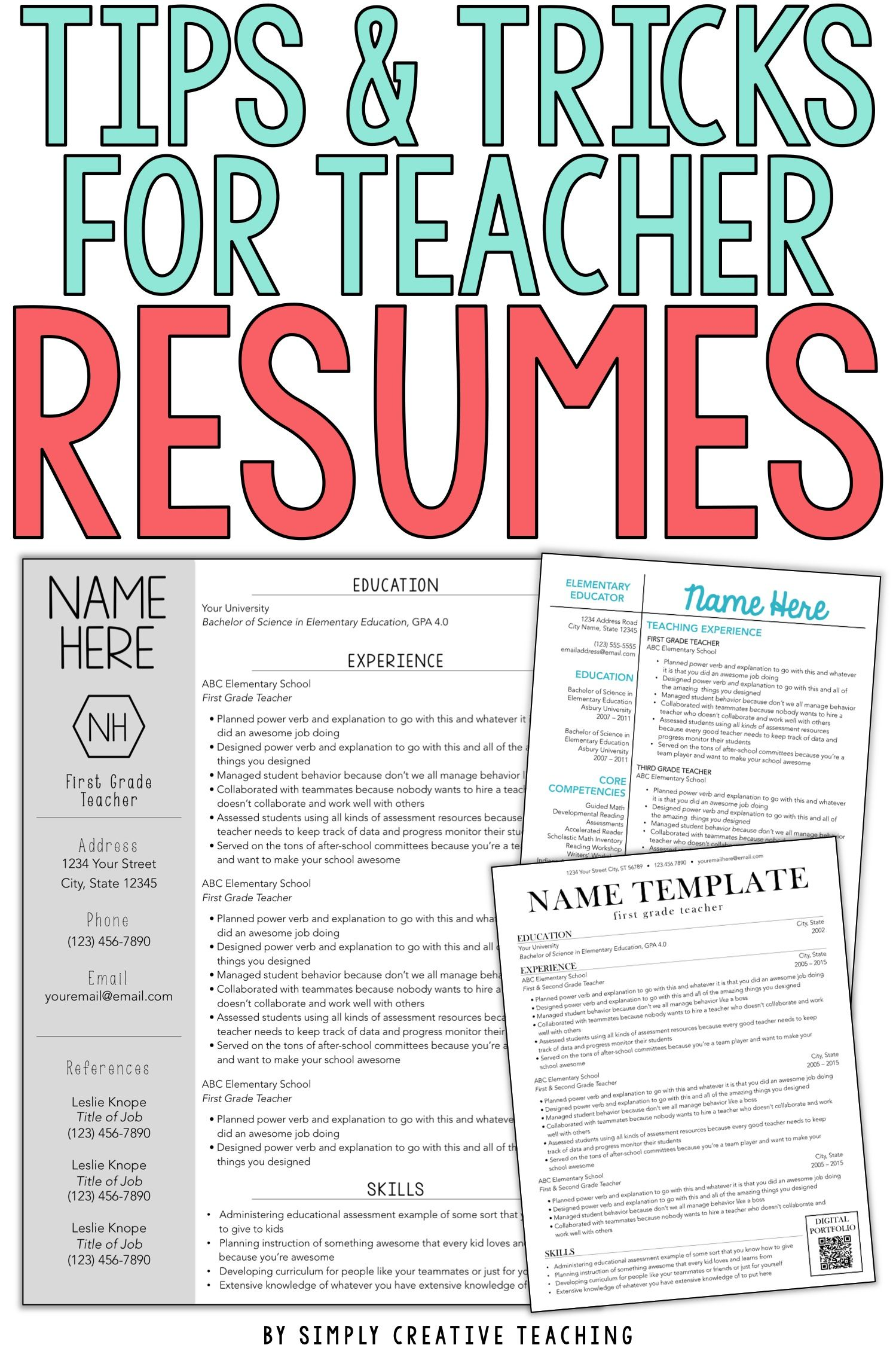Land your ideal teaching job whether it's your first year and you have no experience or you just want to update your teaching portfolio these editable teacher resumes are unique and stand out The design of each resume template for teachers is simple and creative and the design ideas included are the perfect way to showcase your skills These editable resumes can work for elementary middle or high school teachers even special area teachers or special education teachers
