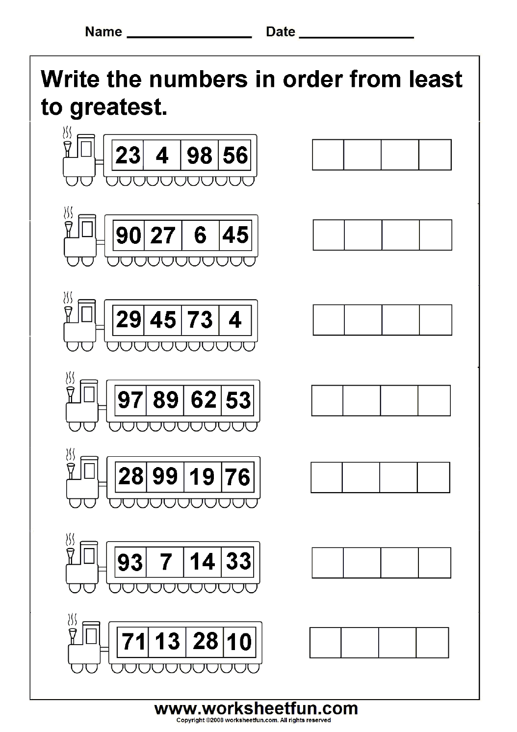 First Grade Math Worksheets Of Least To Greatest Numbers 4