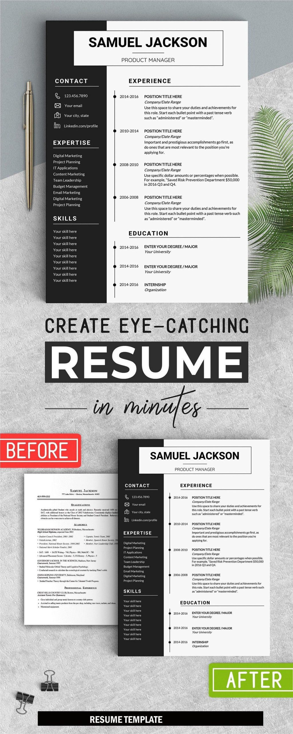 Professional Resume Instant Download CV WORD Cover letter 1 page resume Cover letter Editable in WORD