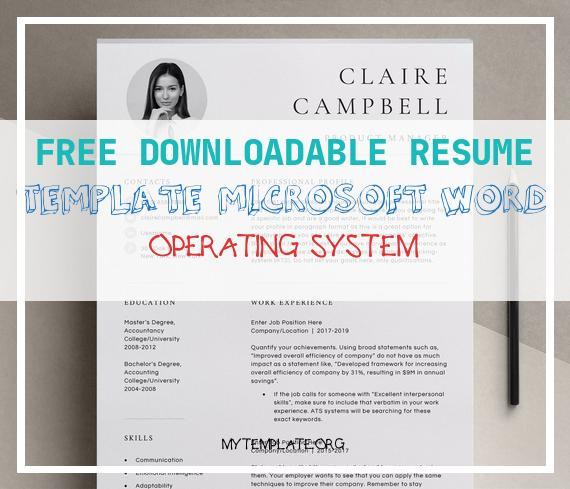 6 Free Downloadable Resume Template Microsoft Word Operating