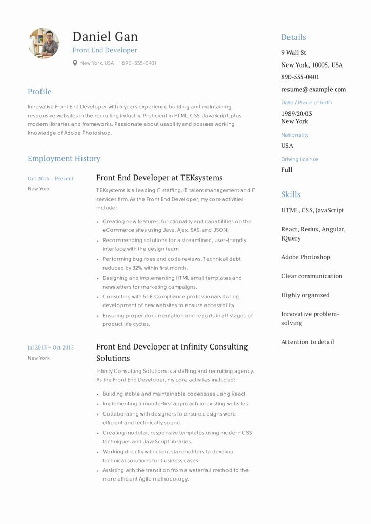 9 Front End Developer Resume Examples Free Templates