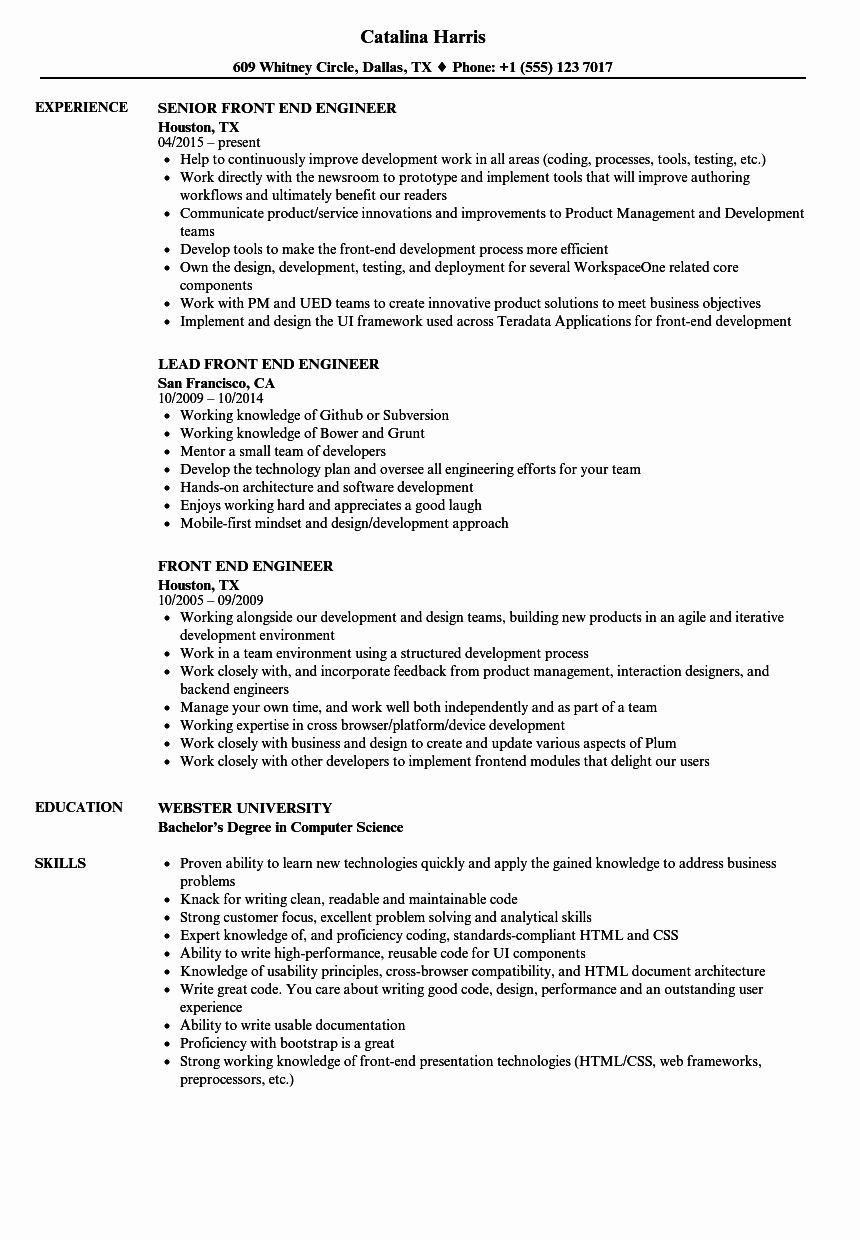 10 Front End Engineer Resume Free Templates