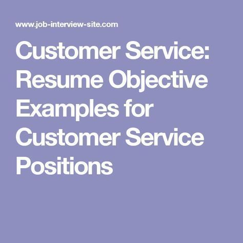 Customer Service Resume Objective Examples for Customer Service Positions More