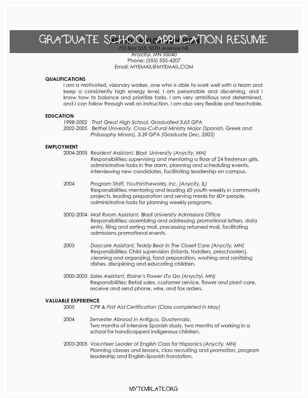 graduate school application resume of resume for masters