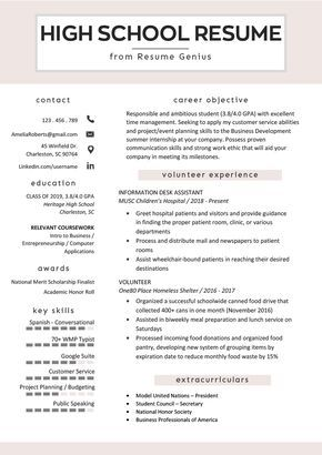 High School Student Resume Sample & Writing Tips