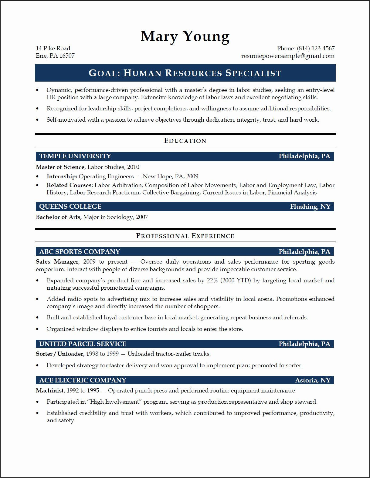 hr specialist resume of human resources specialist resume