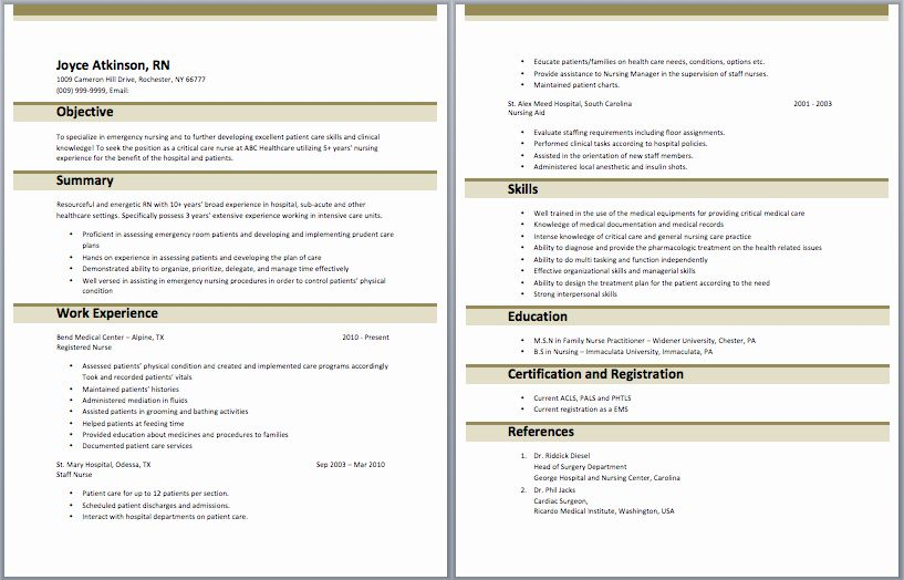 Icu Nurse Resume Example Awesome Neuro Icu Nurse Resume Example – New Pany Driver