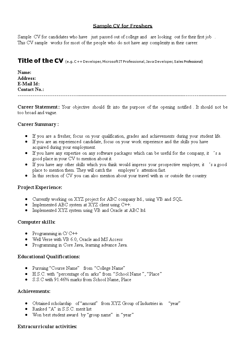 Fresher Java Resume Sample