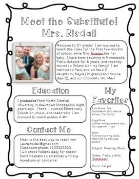 Meet the Substitute Introduction Handout