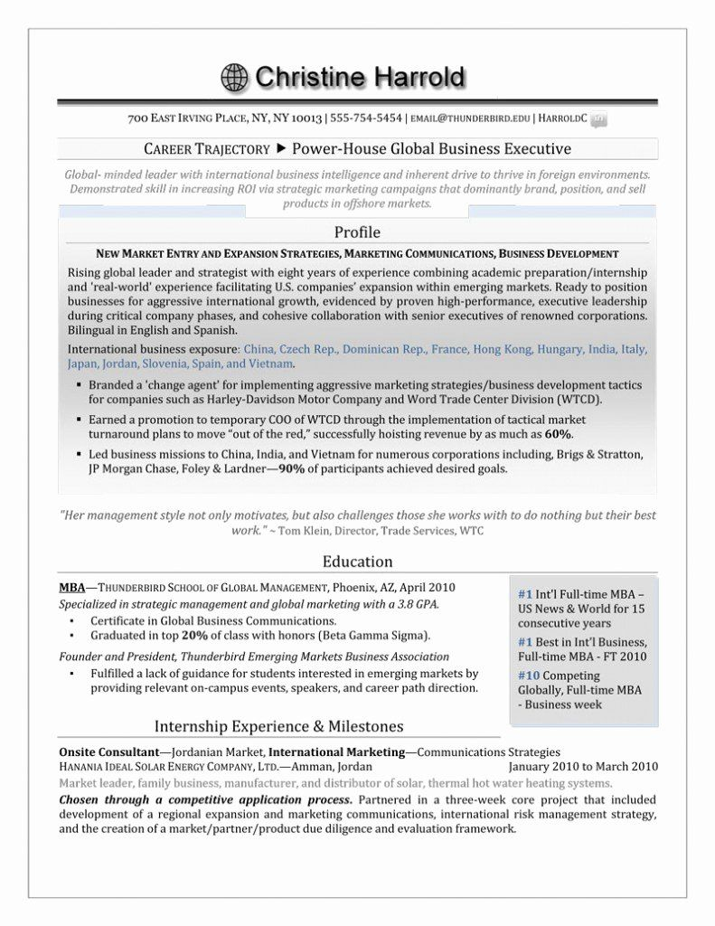 Mba Application Resume Examples Lovely Mba Grad Resume — Career Steering Premium Executive Resume
