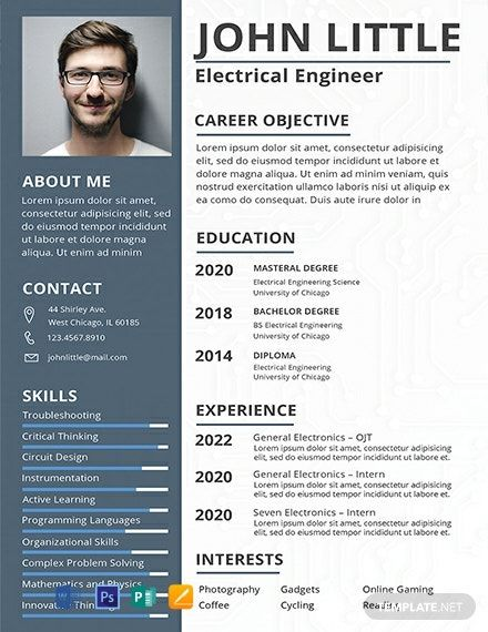 FREE Electrical Engineer Fresher Resume CV Template Word DOC PSD Apple MAC Pages