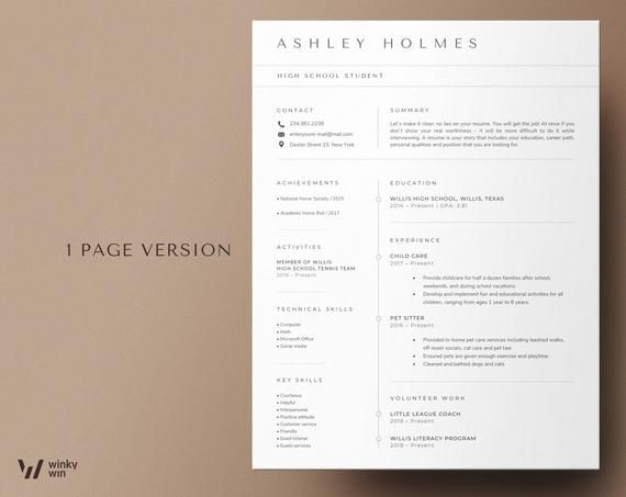 Collage resume template student High school student resume with no experience CV template resume f