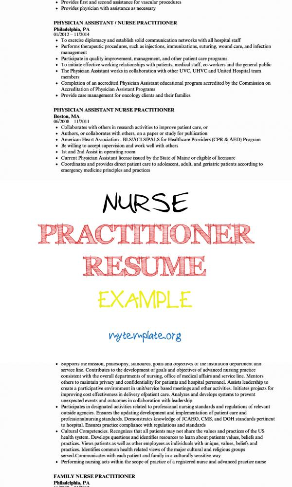 6 Nurse Practitioner Resume Example Free Templates
