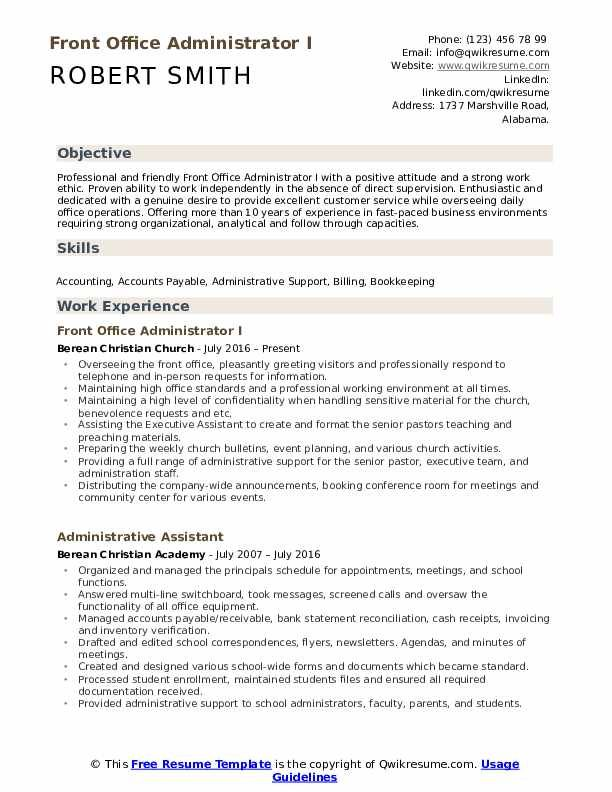 Front fice Administrator Resume Samples