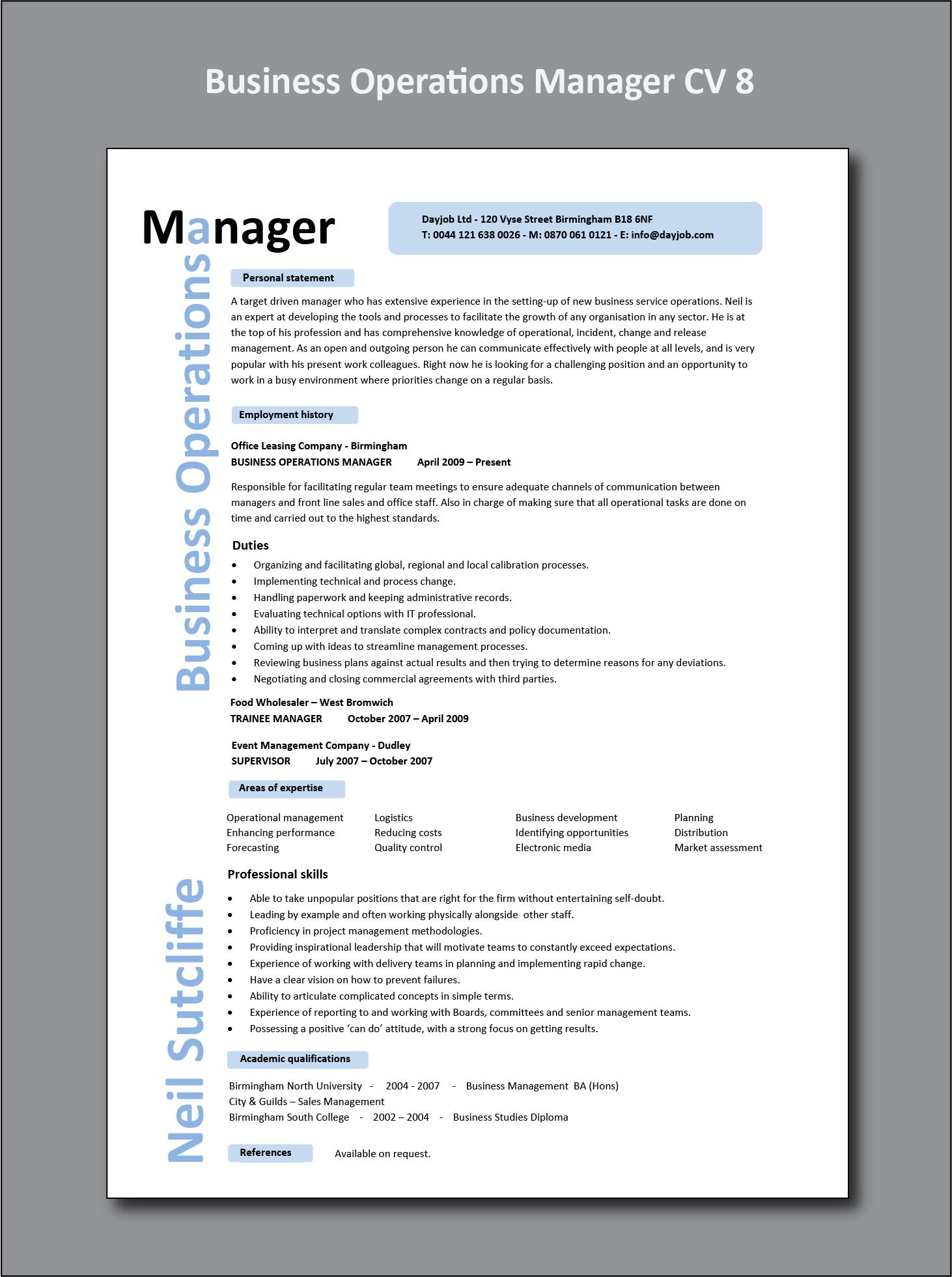 Business Operations Manager CV 8 example