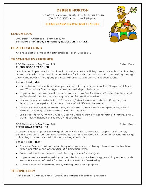 Teacher Resume Objective Examples New Preschool Teacher Resume Samples