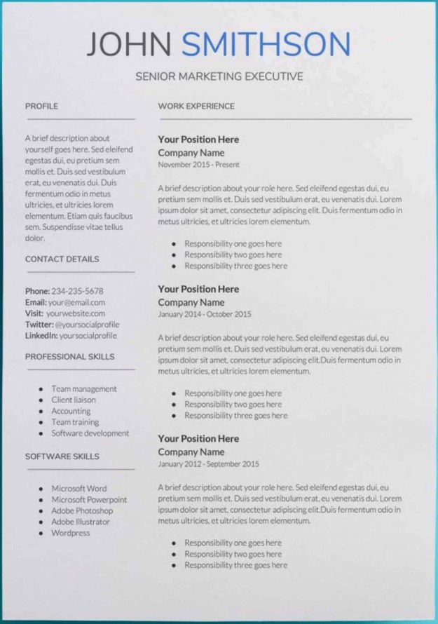 Professional Resume Templates Of 30 Google Docs Resume Templates [downloadable Pdfs]