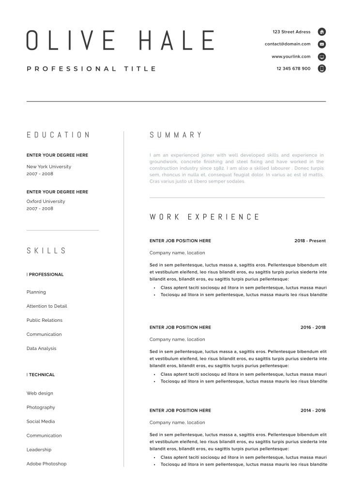 Professional Resume Templates Of Professional Resume Template Clean & Modern Resume Template