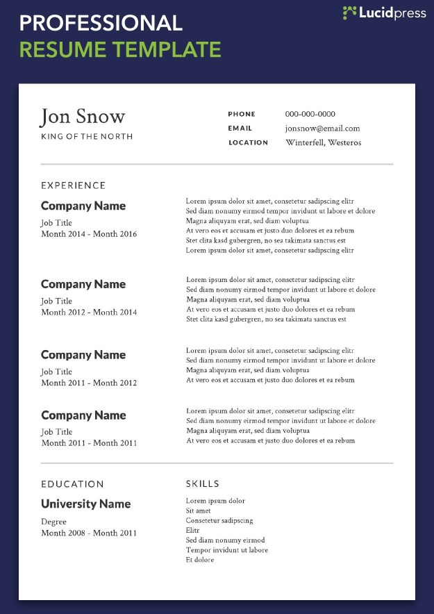 Professional Resume Templates Of Your Resume formats Guide for 2019