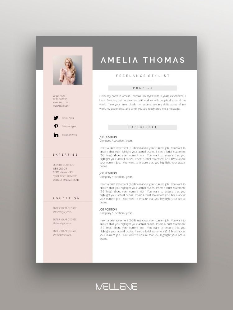 Resume CV template and Cover letter Personal branding design professional application ideas