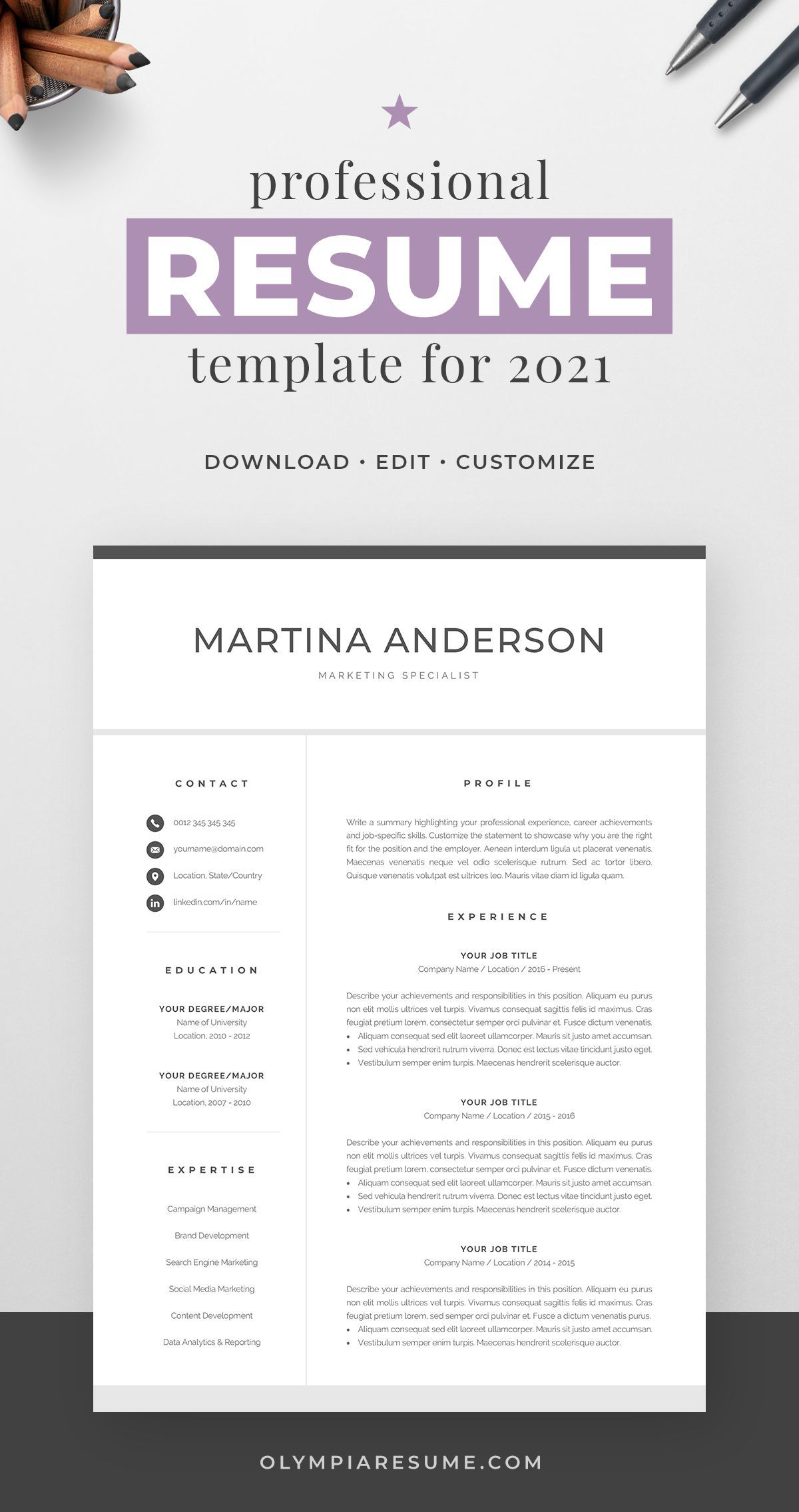 Professional Resume Template for 2021 Modern CV Design with Matching Cover Letter