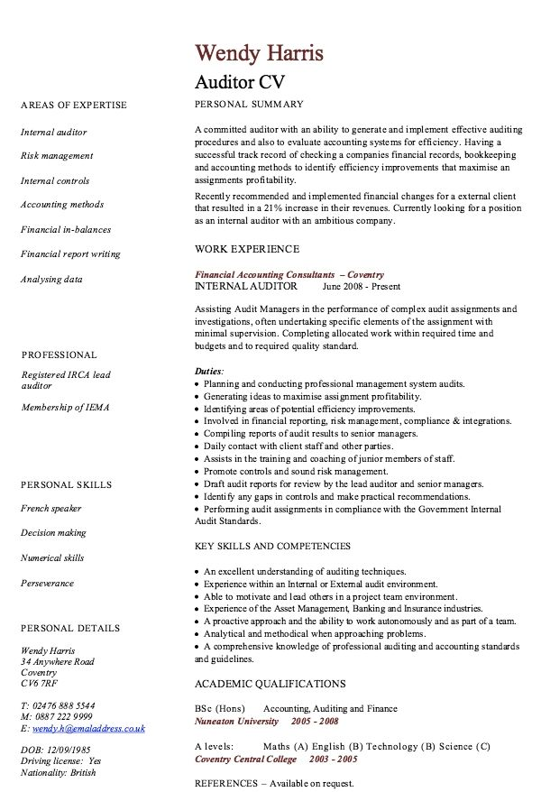 internal auditor resume sample resumesdesign