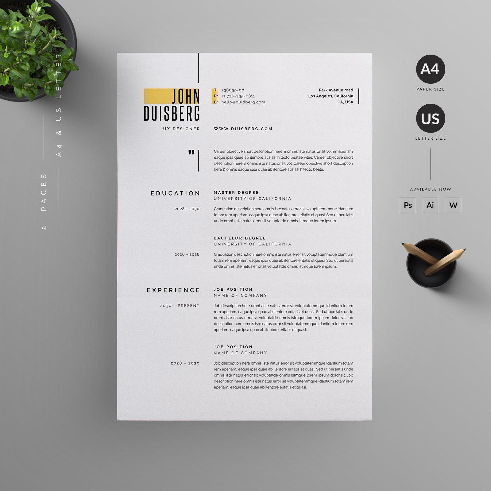 Resume CV Template Clean Modern and Professional Resume and Letterhead design Fully customizable easy to use and replace color & text Give an employer a great first impression and help you land your dream job resume branding job application cv portfolio minimal stationery professional work