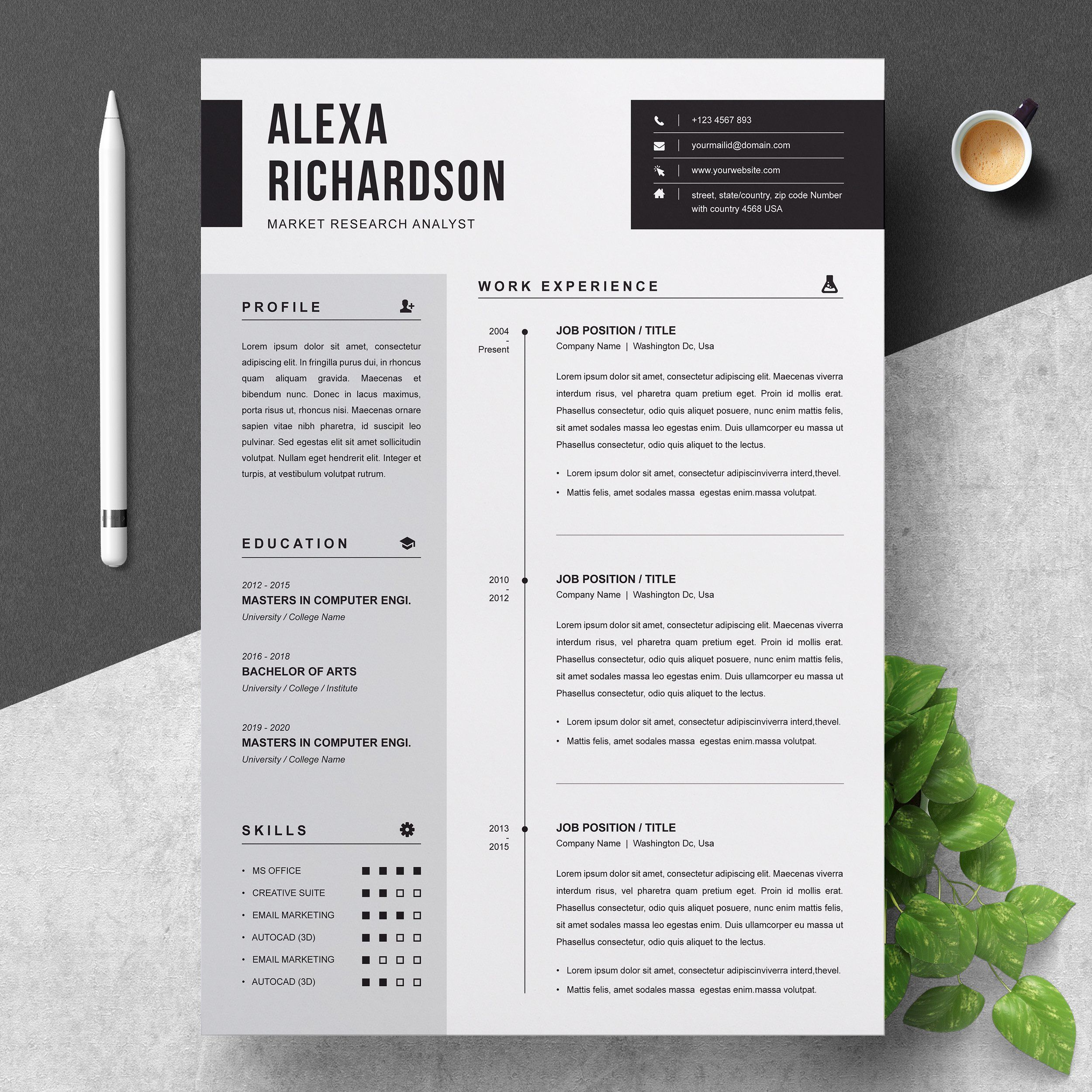 Resume CV Template Clean Modern and Professional Resume and Letterhead design Fully customizable easy to use and replace color & text Guaranteed to help land your dream job resume branding job application cv portfolio minimal