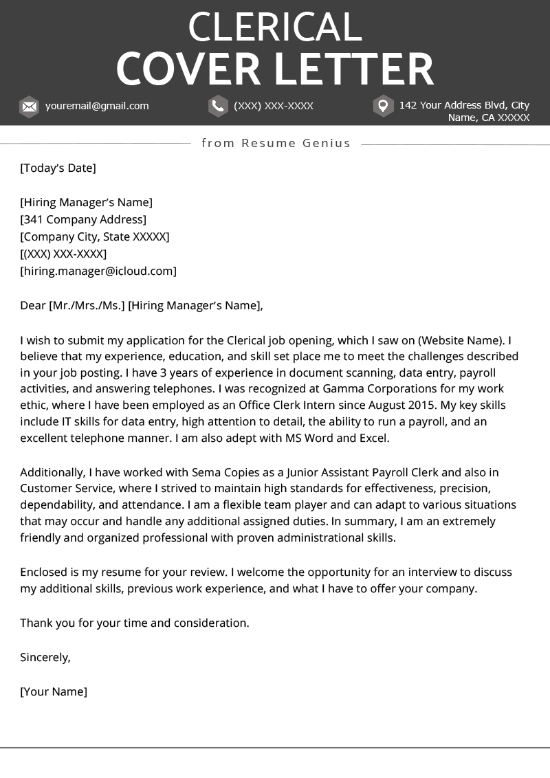 Clerical Cover Letter Example & Tips