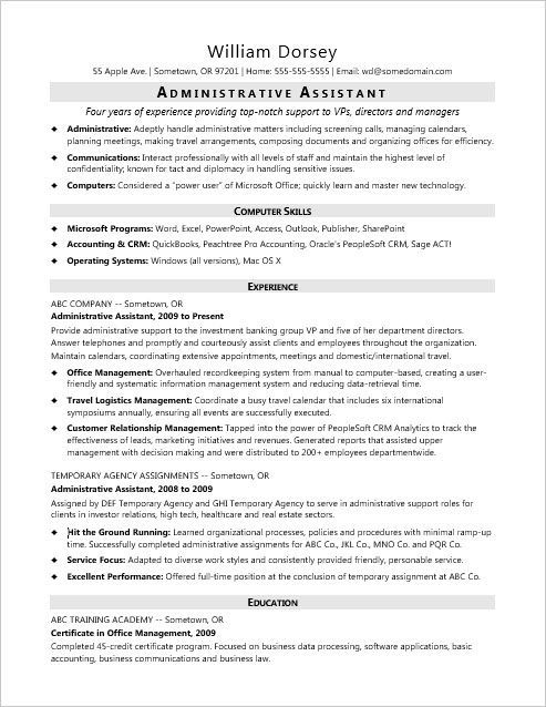 This sample resume for a midlevel administrative assistant shows how you can emphasize your office skills and proven success in administrative roles