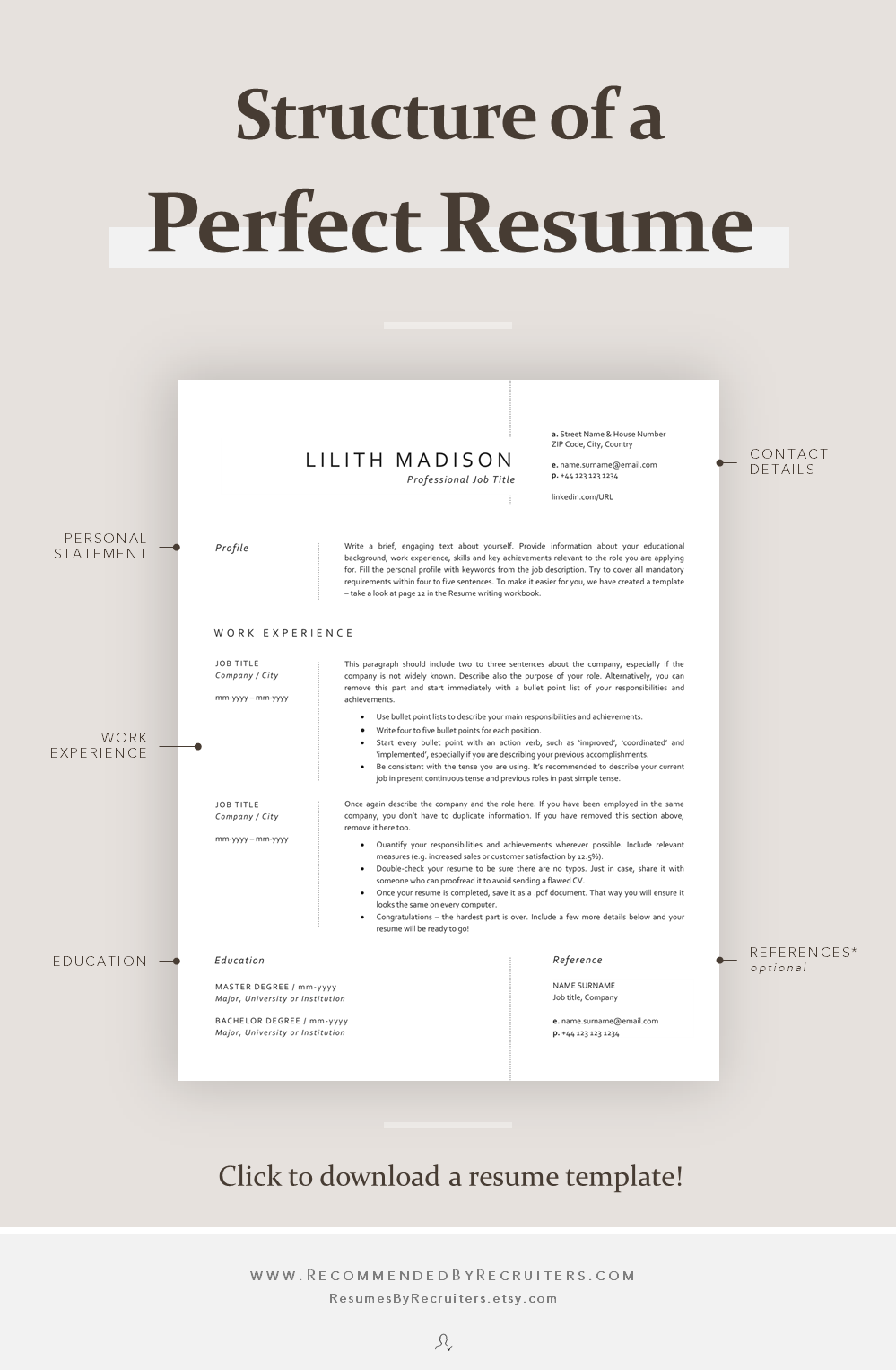 Structure of a Perfect Resume How to Structure CV Main Parts of a Resume Curriculum Vitae Advice