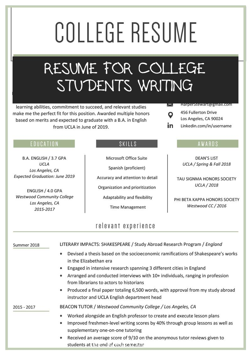 resume for college students writing of college student