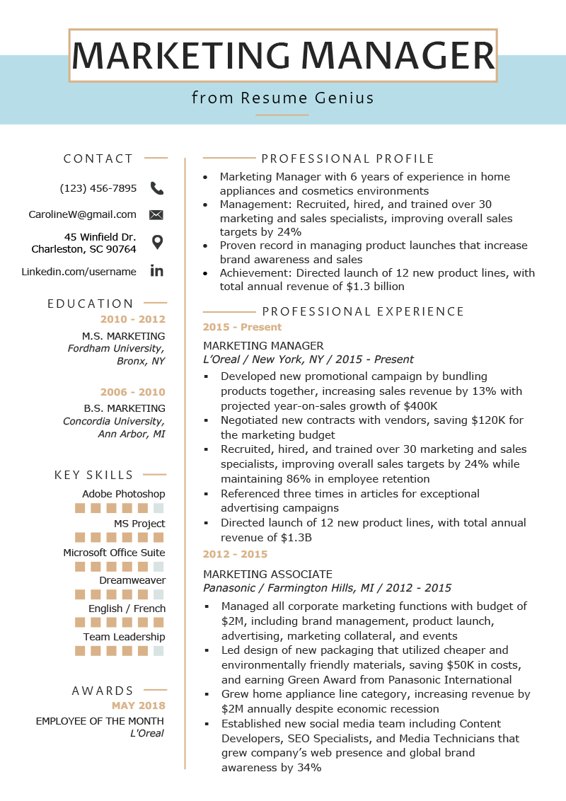 Marketing Manager Resume Example & Writing Tips