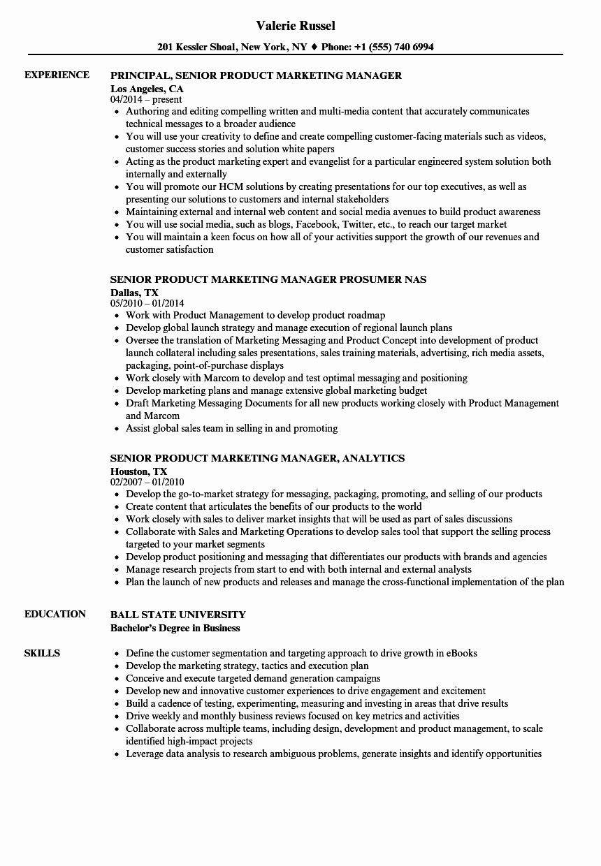 Product Manager Resume Example New Senior Product & Marketing Manager Resume Samples