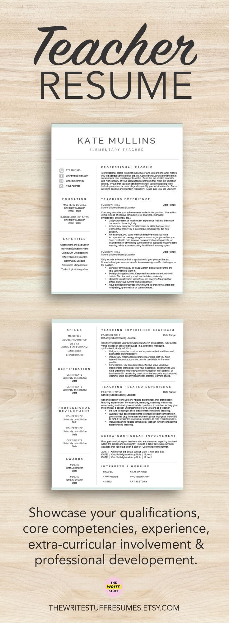 Teacher resume template for Word & Pages 1 2 and 3 page CV template Resume for teachers Educator cover letter