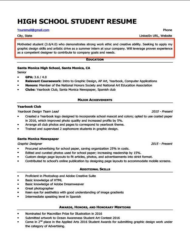 resume for students of resume for high school student