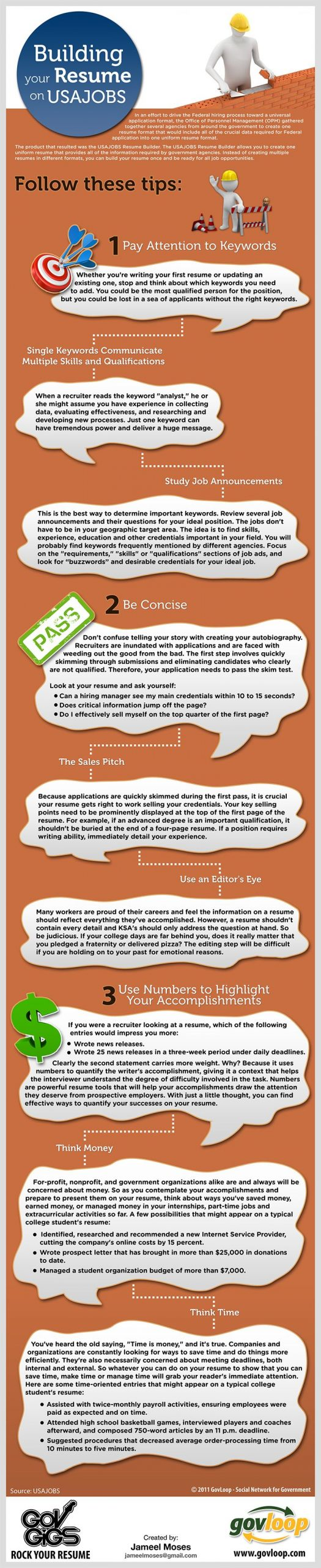 Rock Your Resume USAJOBS Style Infograph to help job seekers build their USAJOBS resume EFFECTIVELY