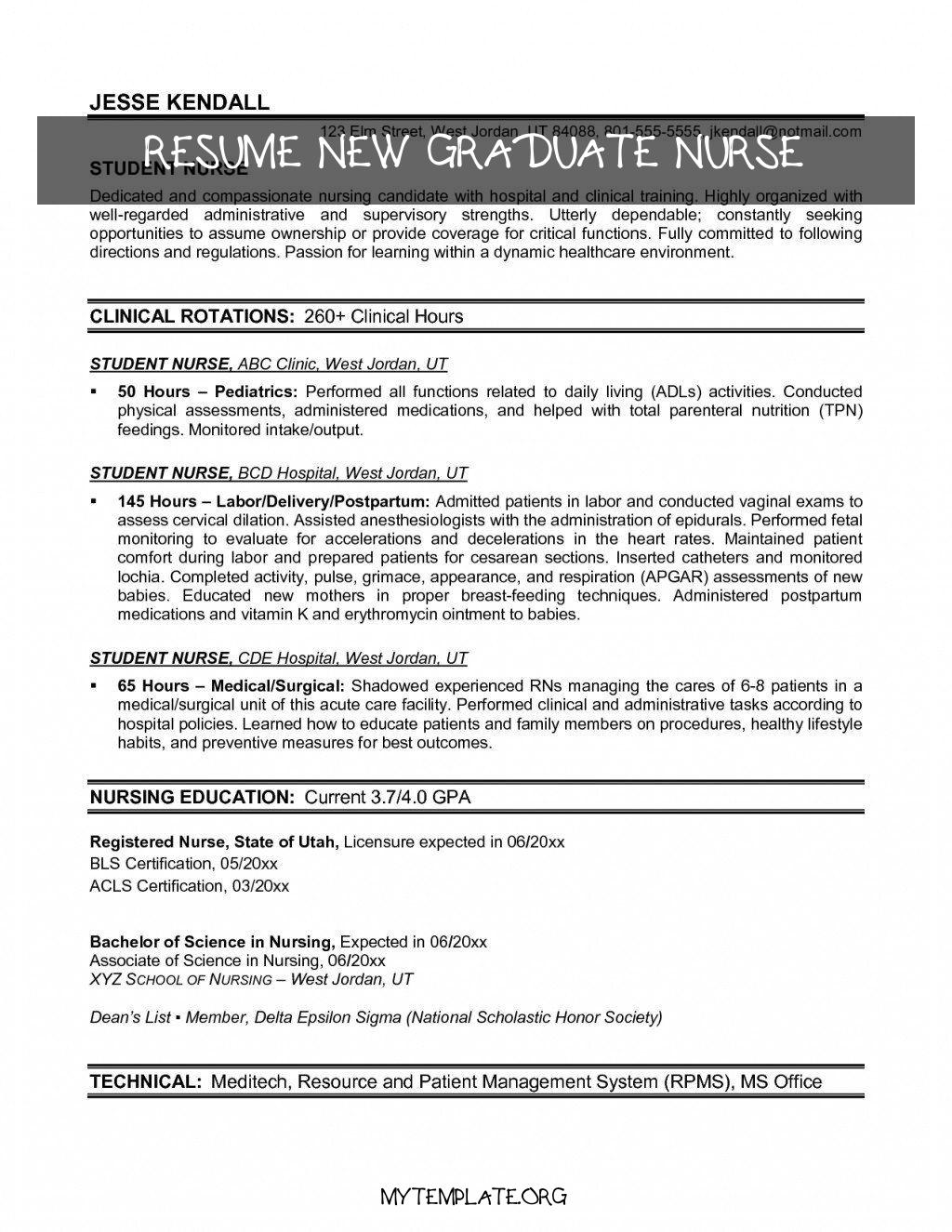 resume new graduate nurse of new grad rn resume luxury recent graduate resume template