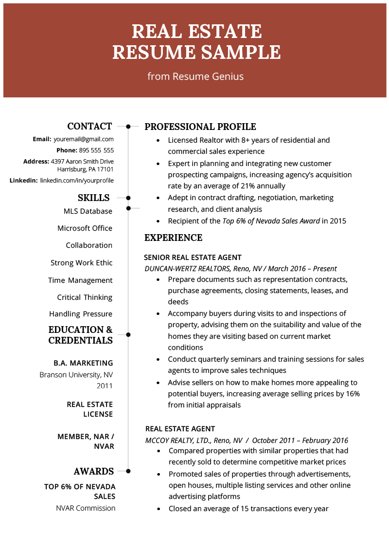 Real Estate Agent Resume & Writing Guide