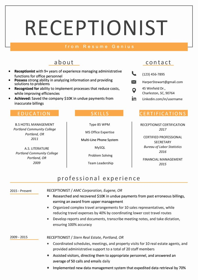 Front Desk Receptionist Resume Best Resume Aesthetics Font Margins and Paper Guidelines
