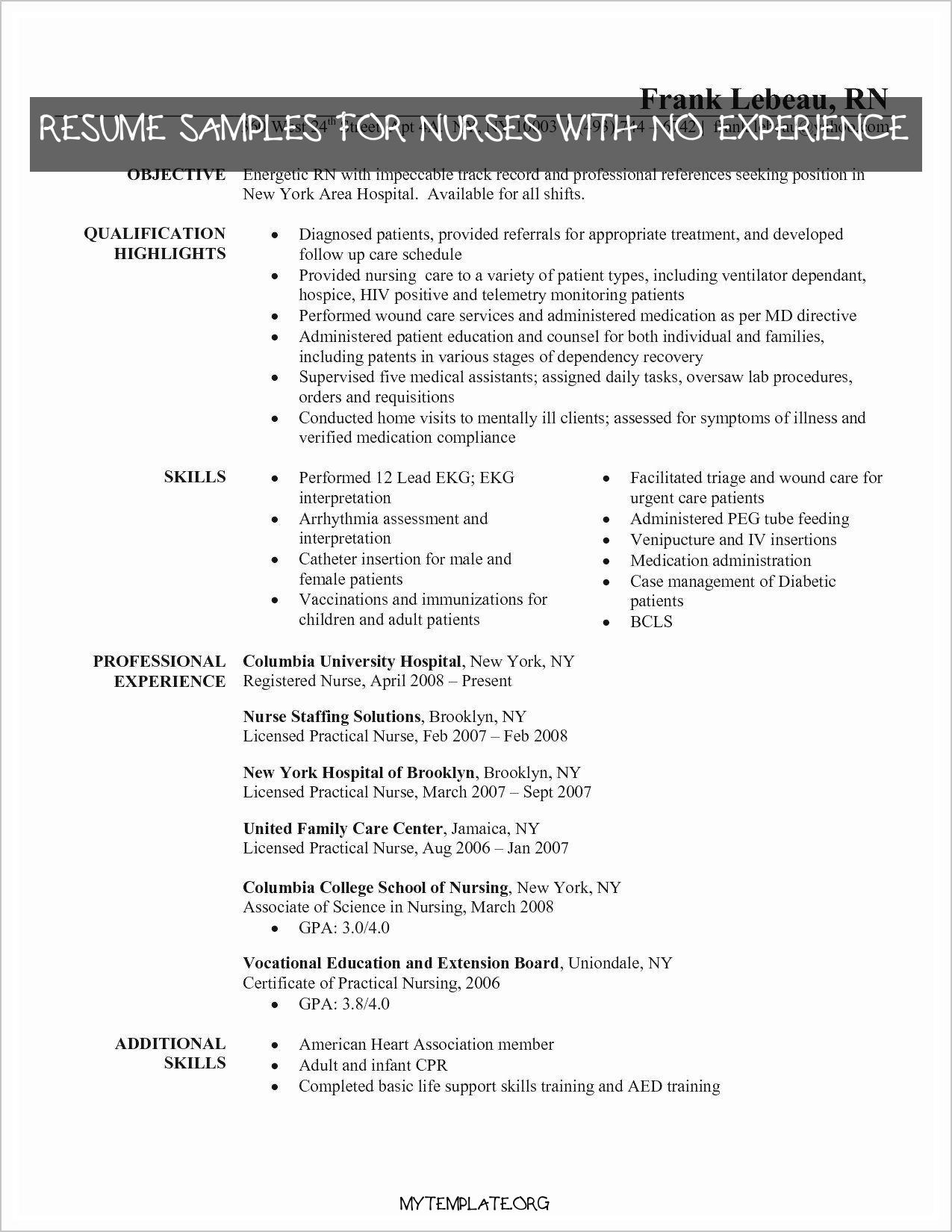 10 Resume Samples For Nurses With No Experience Free Templates