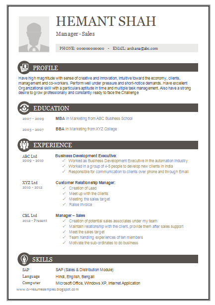 Over CV and Resume Samples with Free Download e Page Excellent Resume Sample for MBA Sales & Marketing