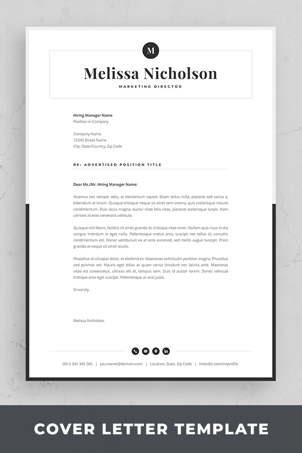 Cover Letter Template Modern Resume Design with Monogram